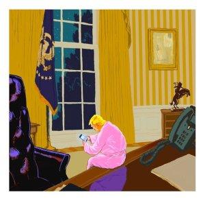 Donald Trump einsam im Weißen Haus (Daniel Pagan)